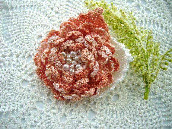Hand Crochet Beaded Anchor Cotton Corsage Brooch by CraftsbySigita, $18.00