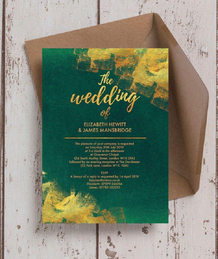 Emerald Green And Gold Wedding Invitation Emerald Wedding Invitations Green Wedding Invitations Green Invitations