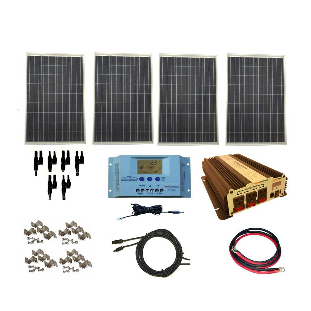Windynation 400 Watt Off Grid Polycrystalline Solar Panel Kit With 1500 Watt Vertamax Power Inverter Rv Solar Power System Rv Solar Power Solar Energy Panels