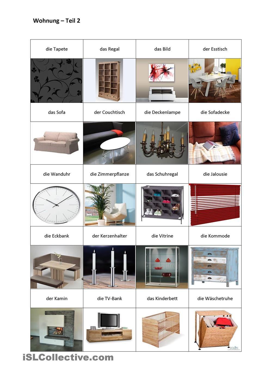 wohnung teil 2 familie haus deutsch wortschatz deutsch vokabeln und deutsch lernen. Black Bedroom Furniture Sets. Home Design Ideas