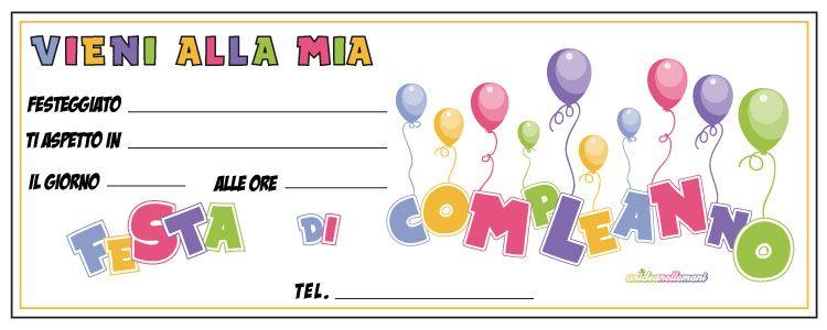Biglietti invito compleanno per bambini da stampare | Inviti di