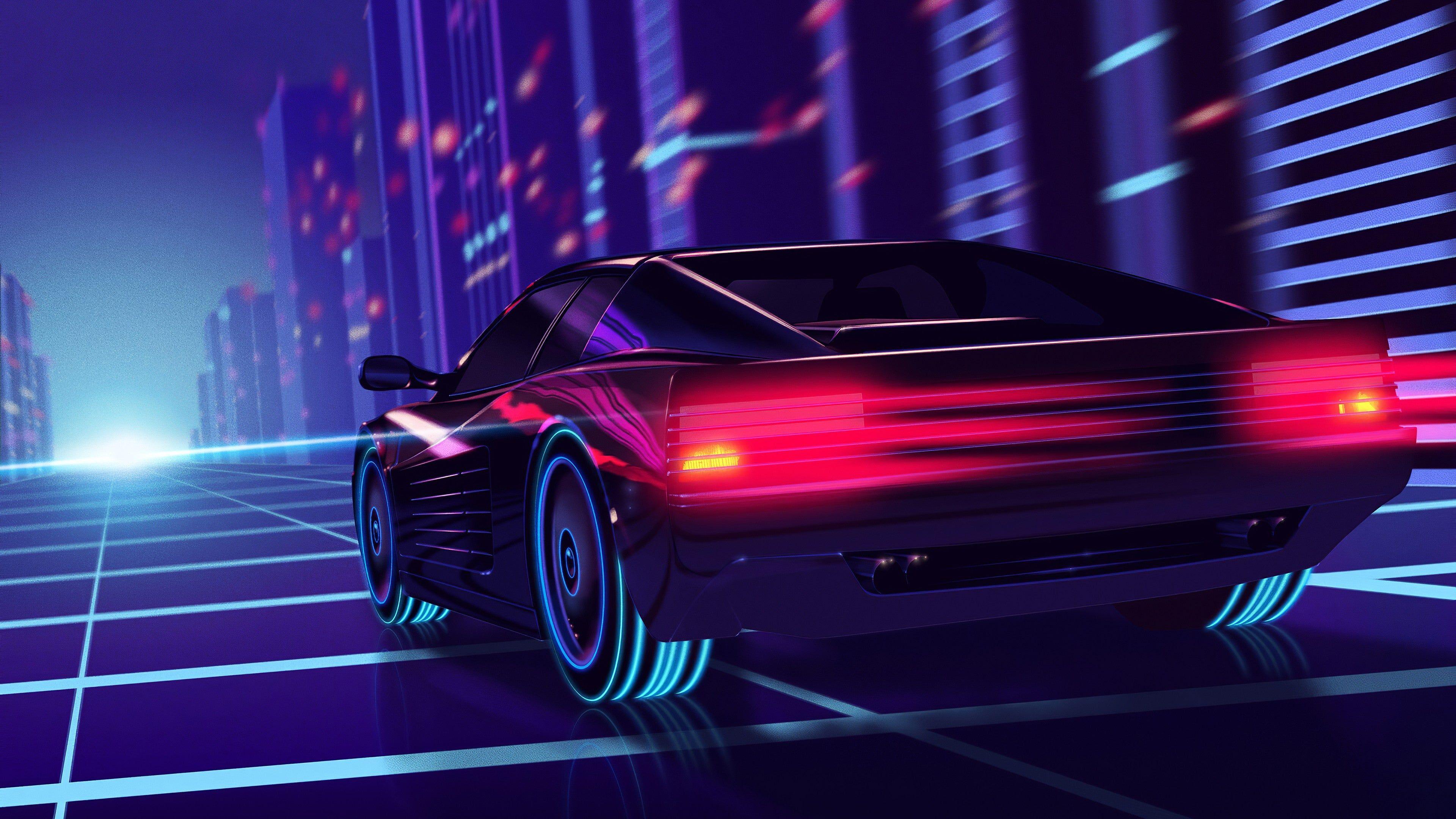 Retrowave Neon Racing 4k Wallpaper Computer Wallpaper Desktop Wallpapers Synthwave Ferrari Testarossa