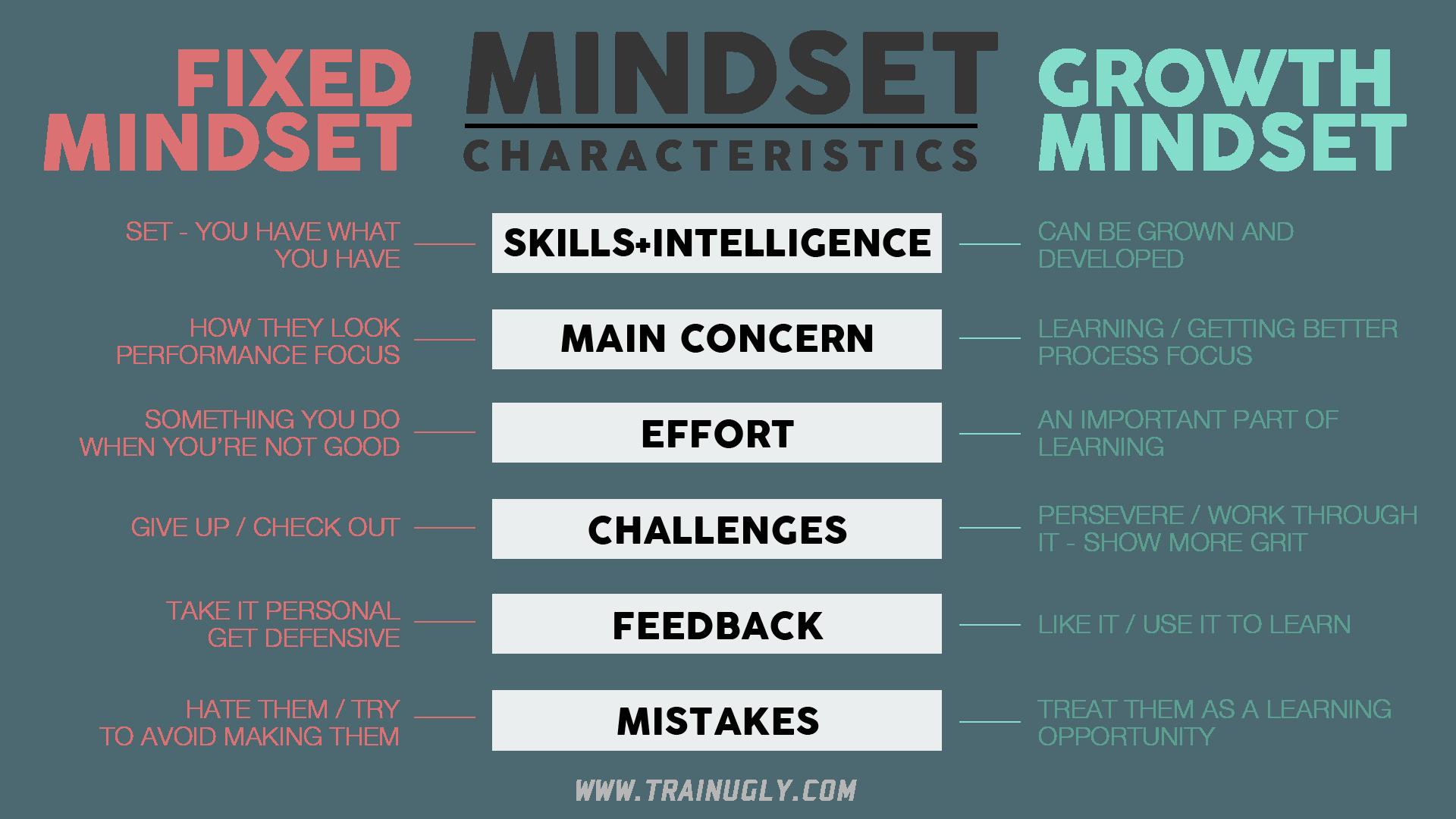 Growth Mindset Characteristics Table