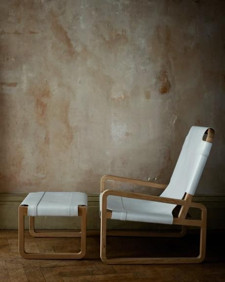 OCHRE Zeffirelli Chair & Stool, featuring waxed solid wood frame with saddle leather seat and double stitch details.