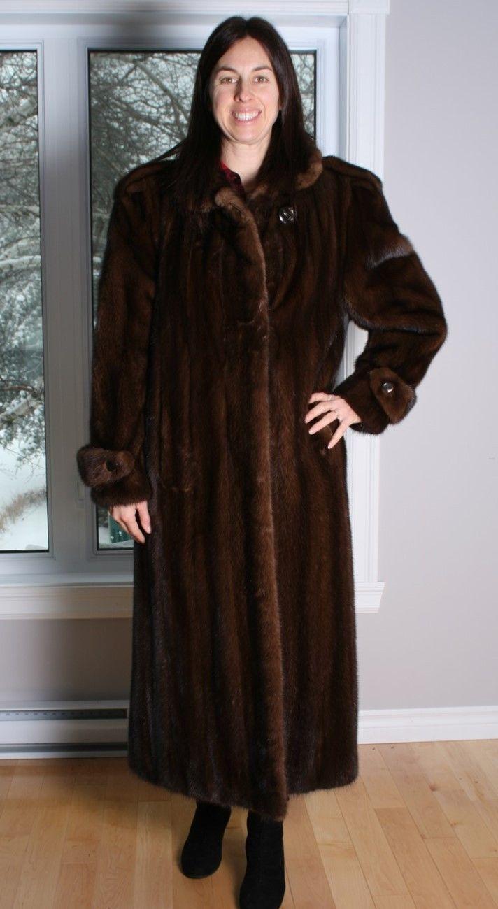bd4a8a6e7 Size XL Wonderful Dark Mahogany Mink Fur Women Full Length Coat [98] | eBay