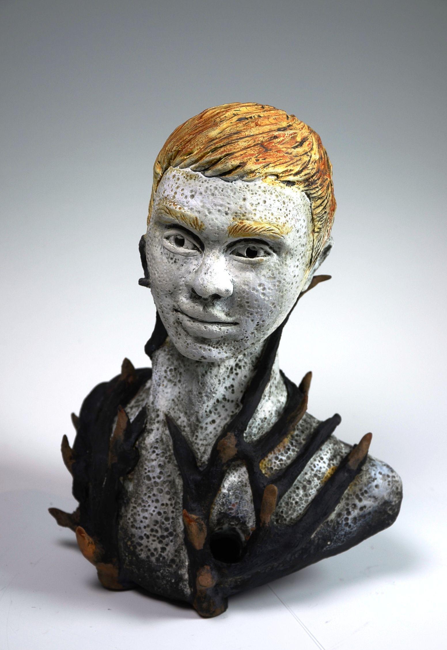3e76b7b625f yellow - man - bust - Jorge Martell - Entangled - figurative sculpture