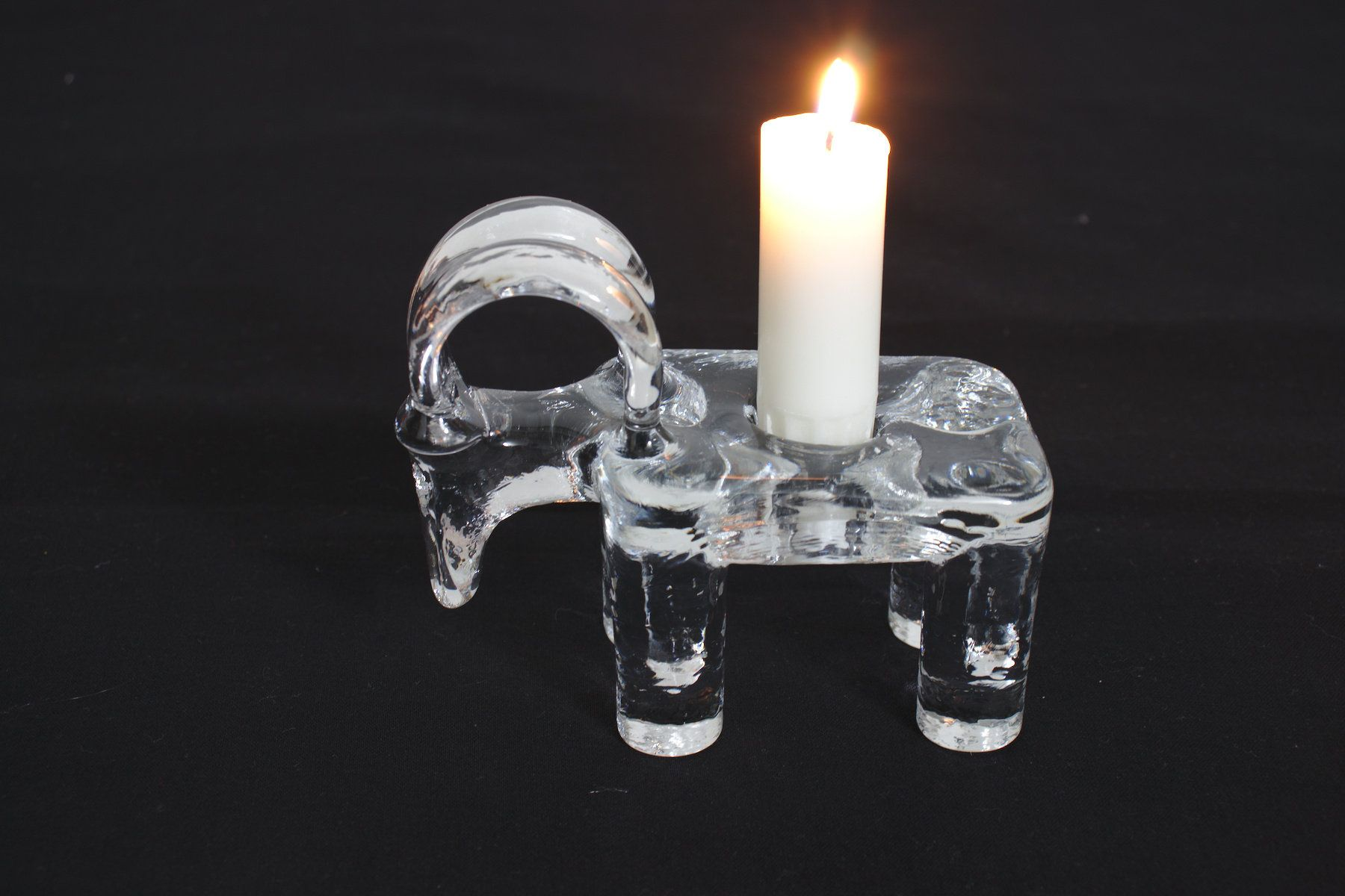 Vintage kosta boda glass goatram candle holder etsy shop