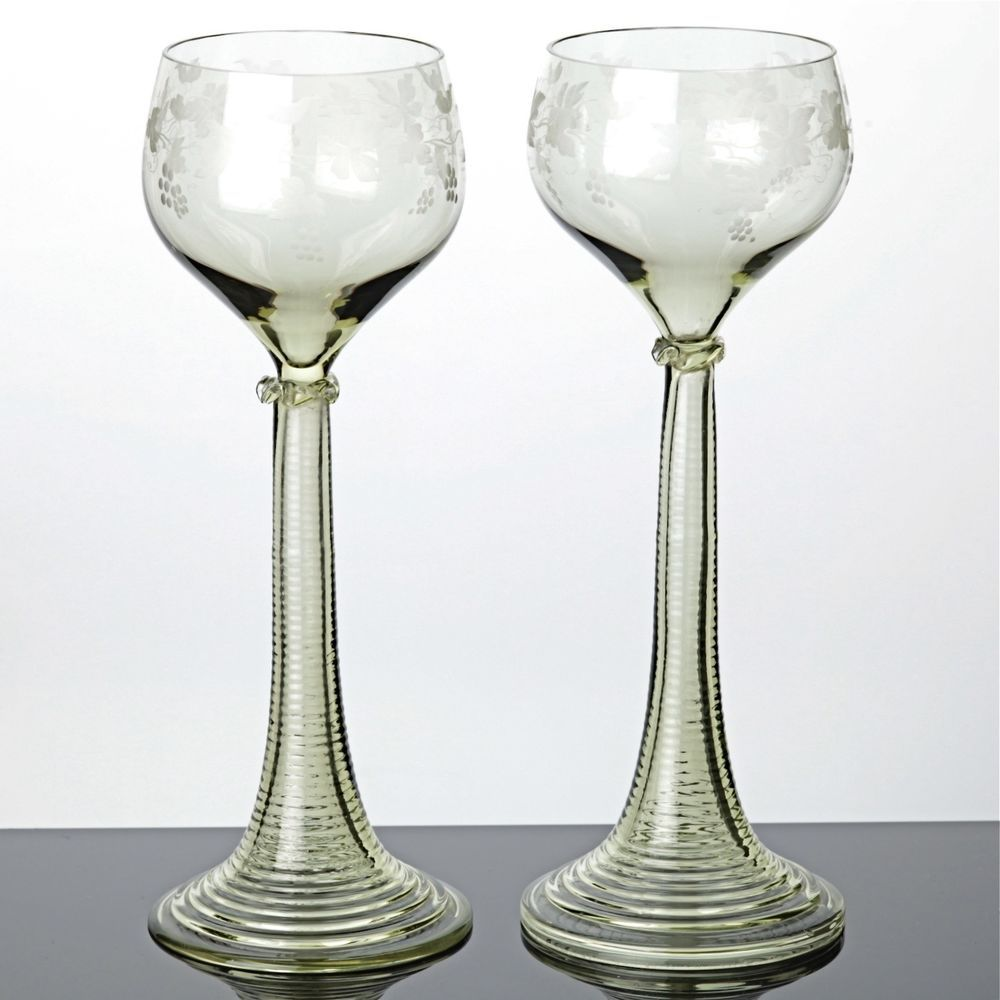 Römergläser 2 jugendstil römer gläser 20 cm weingläser trompetenfuß grün