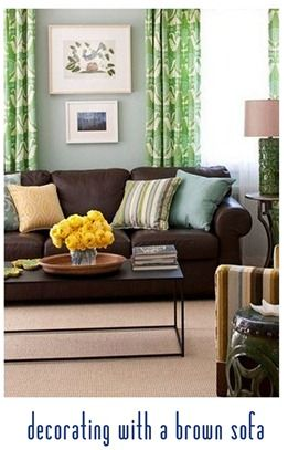 A Brown Couch Blue Walls. Love Those Green Curtains