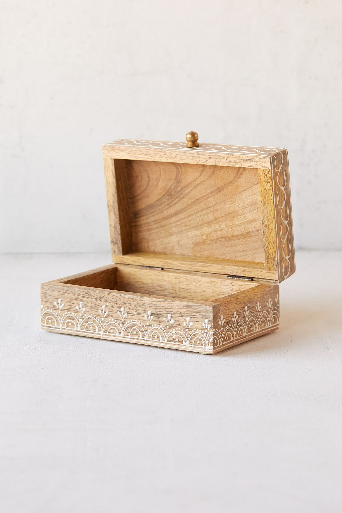 Boho Painted Wood Stash Box Painting on wood, Small wood