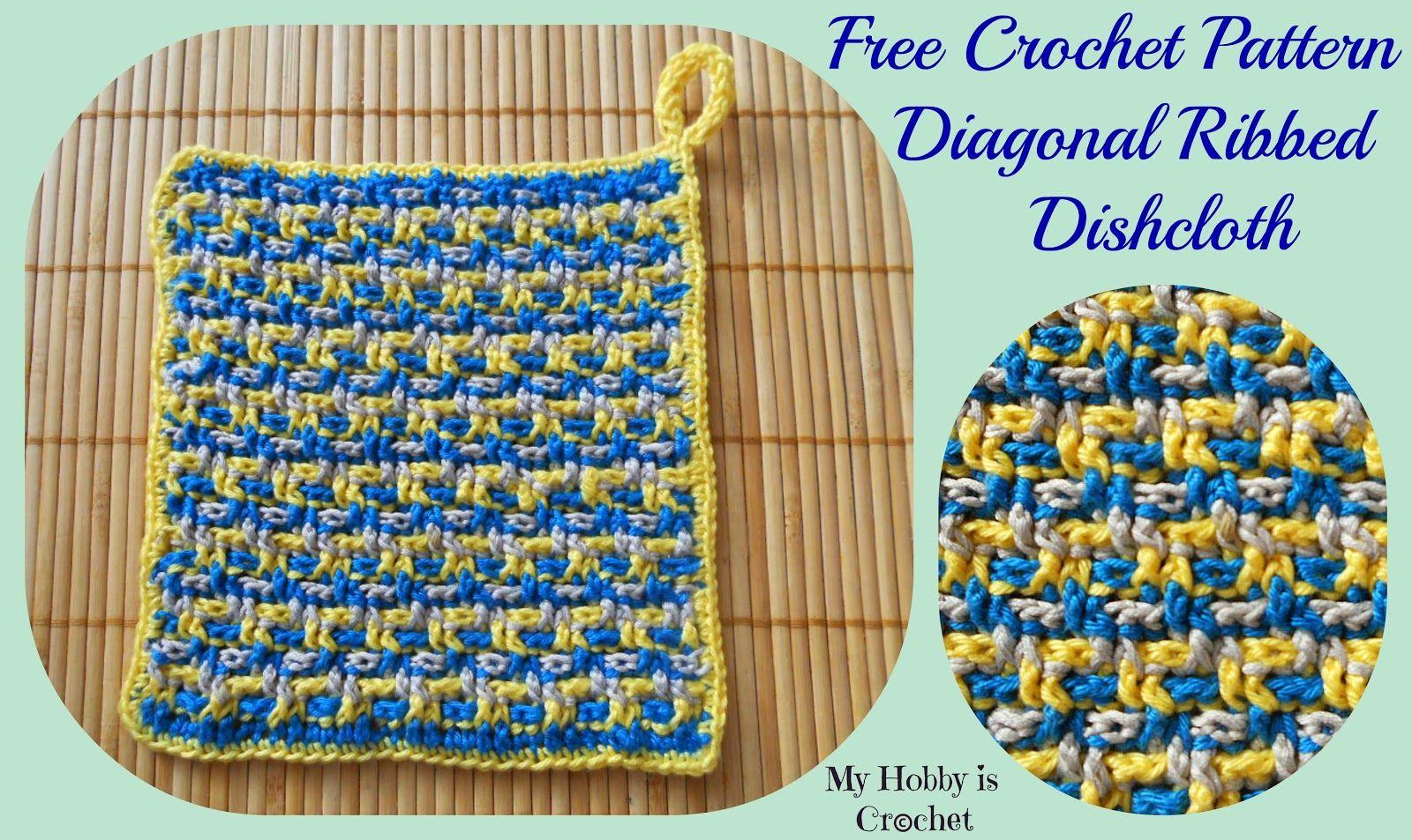 Dishcloth/Washcloth/ Coaster diagonal ribbed - Free pattern: written ...