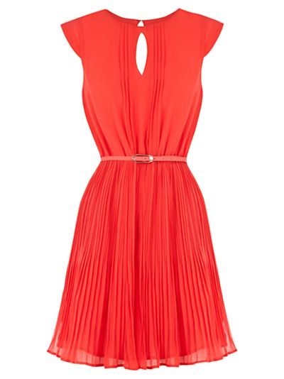 Buy Oasis Keyhole Pleated Dress, Coral Orange online at JohnLewis ...