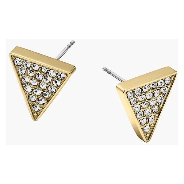 Women's Michael Kors Pave Triangle Stud Earrings (130 BRL) ❤ liked on Polyvore featuring jewelry, earrings, stud earrings, geometric jewelry, pave stud earrings, michael kors jewelry and triangular earrings