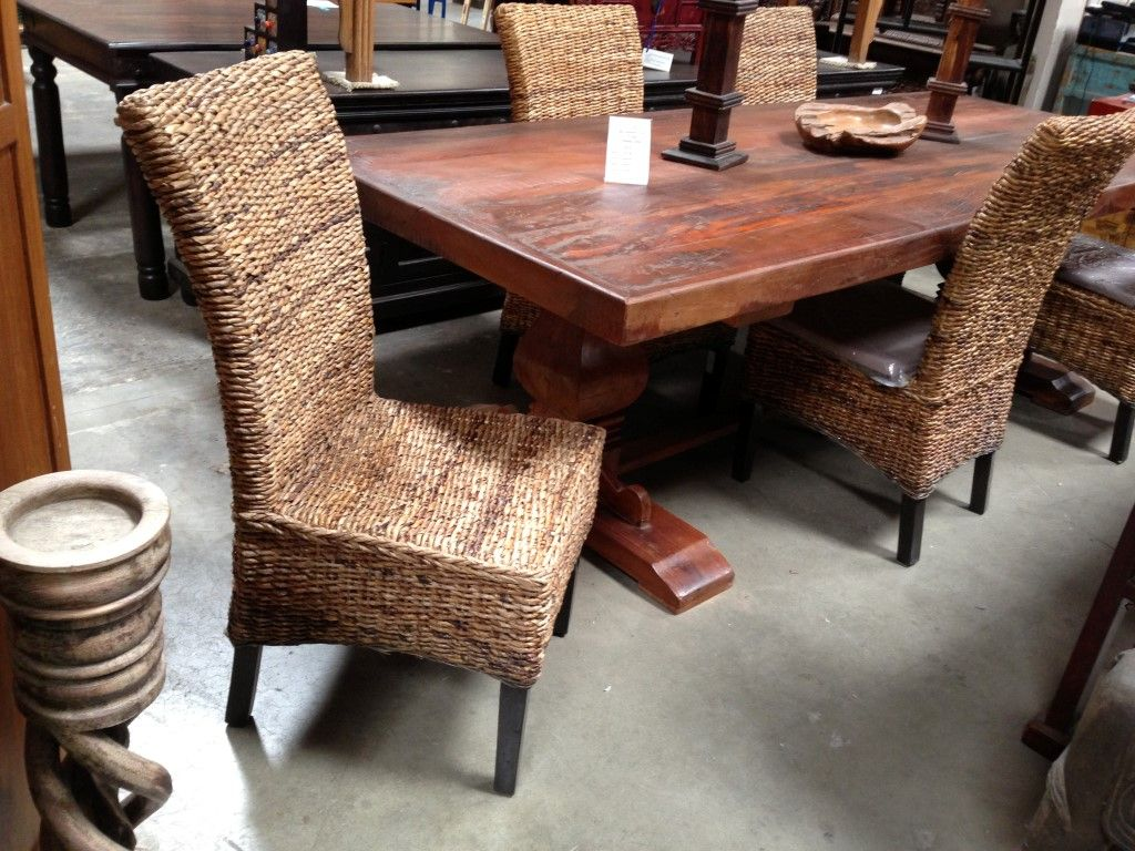Water Hyacinth Chair Rattan Dining Chairs Dining Table Asian