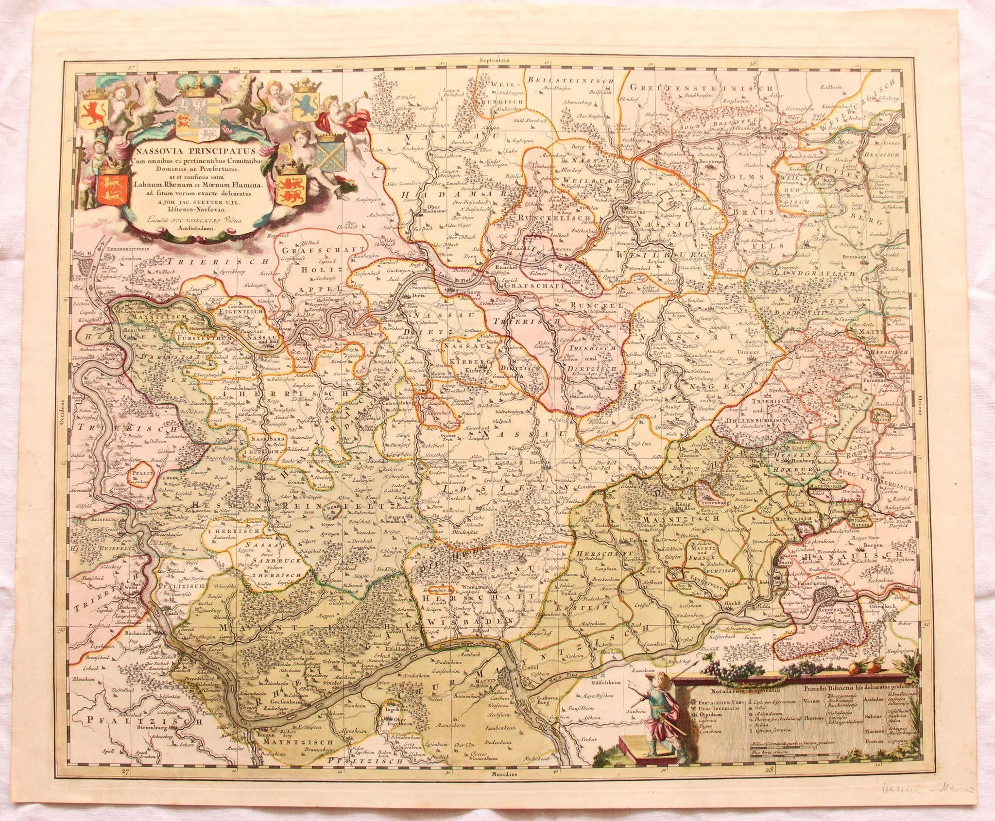 17th Century Map of the Province of Nassau including Mainz Koblenz