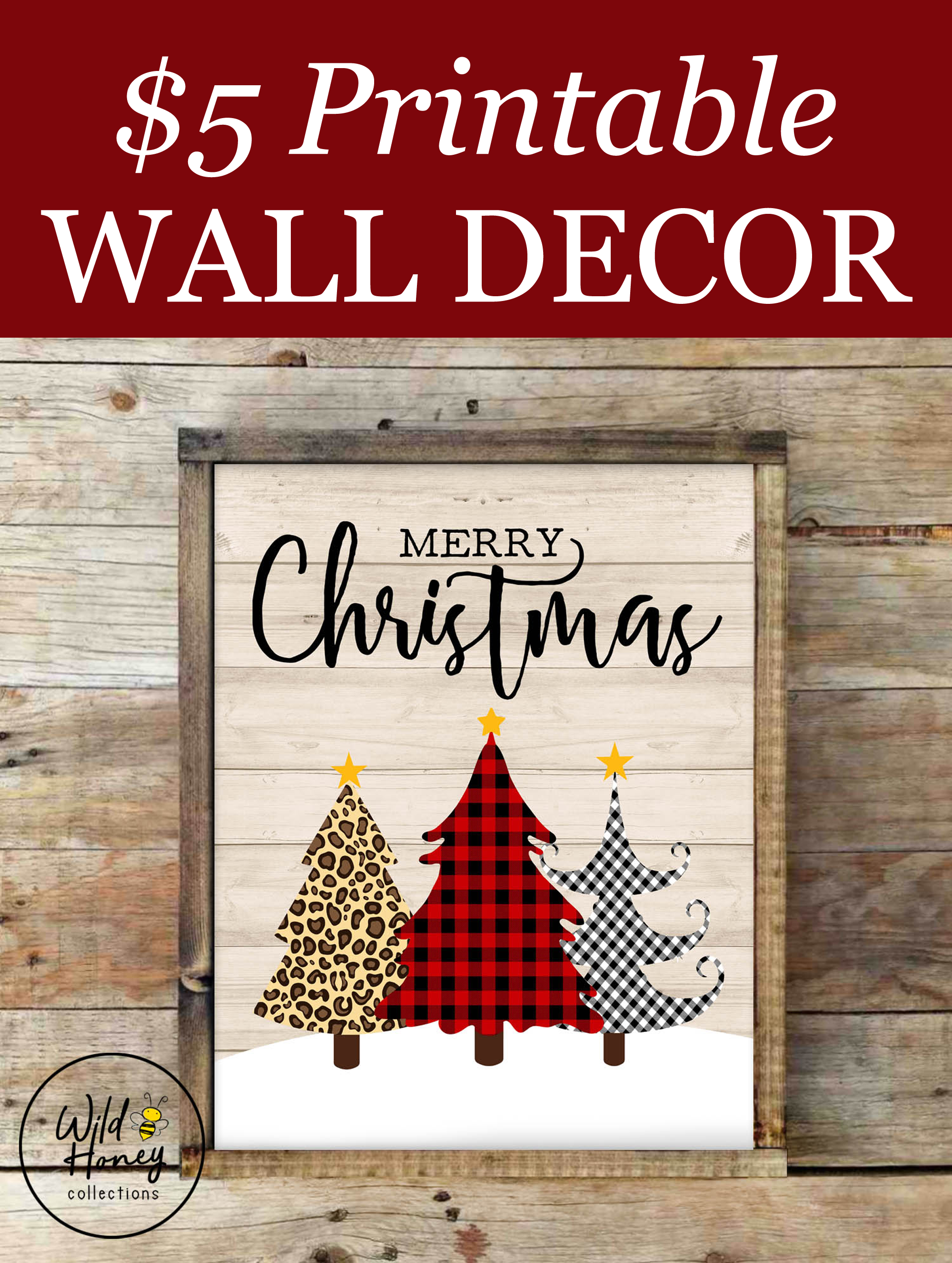 Merry Christmas Rustic Farmhouse Printable Wall Decor