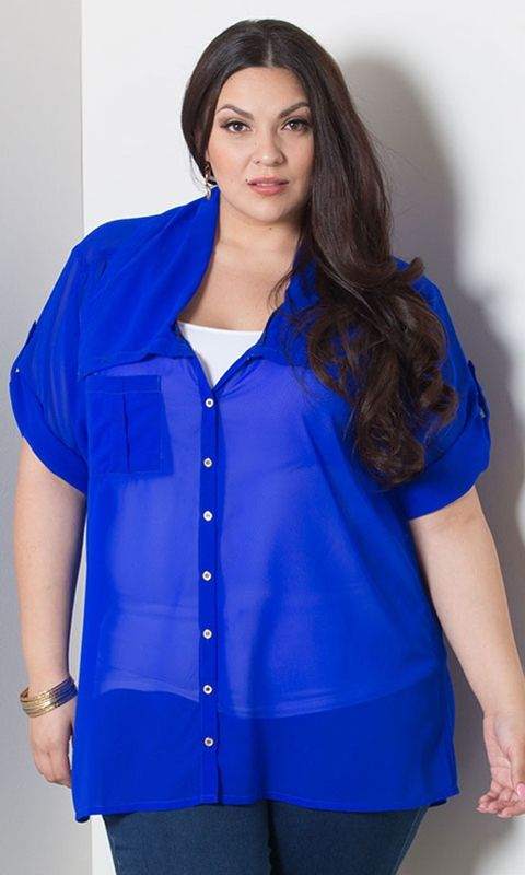 plus size chiffon blouse | *tops* | Pinterest | Beautiful, Cobalt ...