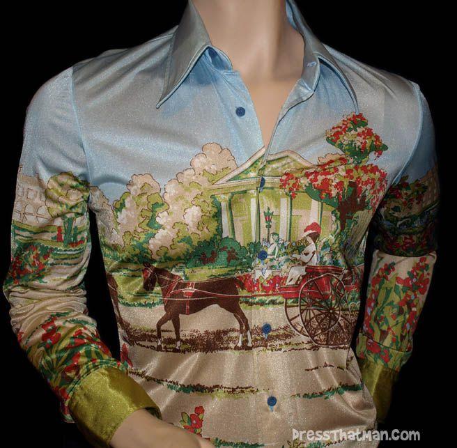 Vintage 70s Nik-Nik Nylon Disco Shirt Made in Italy Nik Nik Mens Shirt Size Small to Medium 1970s Romantic Scene Print Button Front