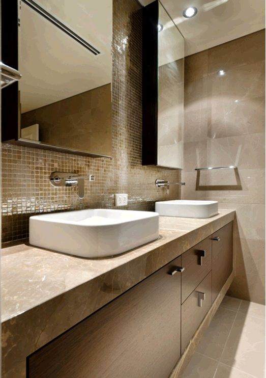 Mixing natural stone with mosaics! Bacchio beige flooring with Marron Marron menghini vanity