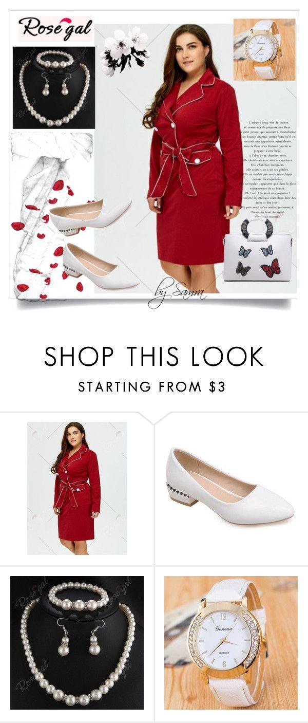 """Plus size red dress by Rosegal - 50"" by samra-dzabija ❤ liked on Polyvore"