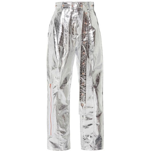 Proenza Schouler Metallic Leather Belted Pant (16,870 CNY) ❤ liked on Polyvore featuring pants, proenza schouler, silver, white leather pants, straight leg trousers, metallic trousers, white trousers and leather trousers