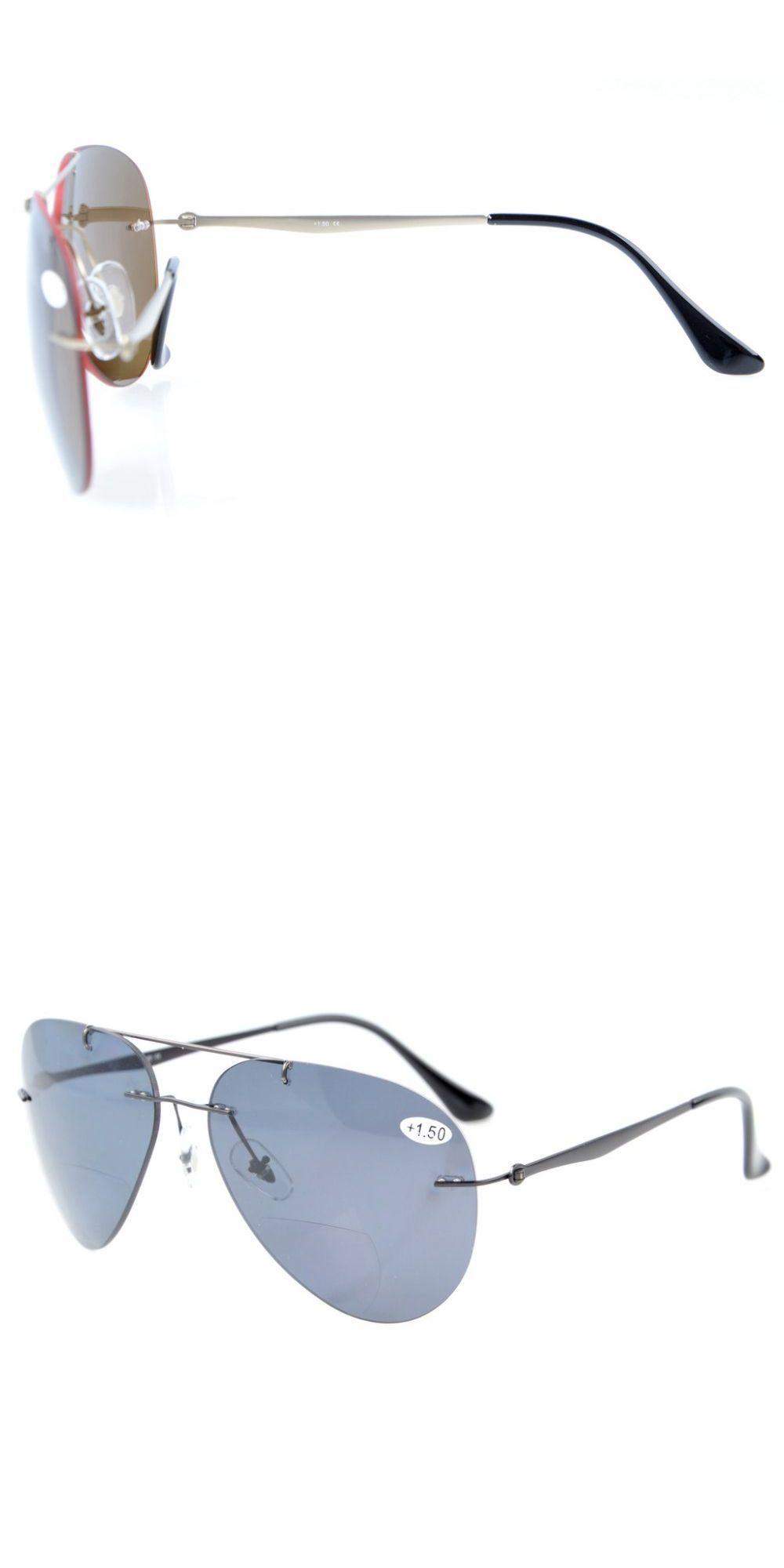 a351366863 S1508 Bifocal Eyekepper Sun Readers Titanium Rimless Polarized Bifocal  Sunglasses +1.5 +2.0