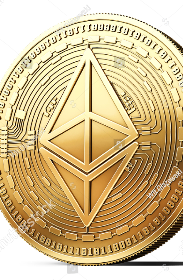 Golden Ethereum ETH cryptocurrency physical concept coin
