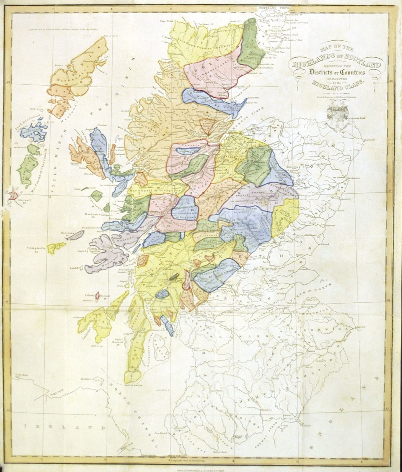 Map Of The Highlands Of Scotland ... Highland Clans : W.H.Lizars / A.Constable  & Co.