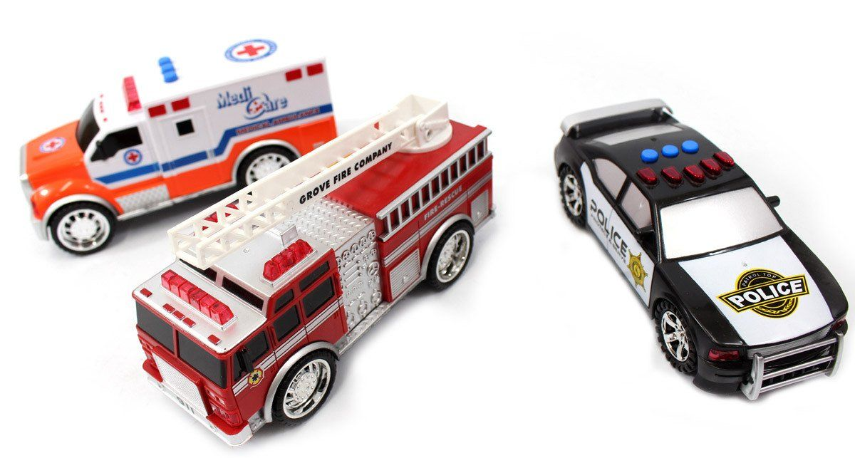 3in1 Emergency Vehicle Toy PlaySet for Kids (Fire Truck