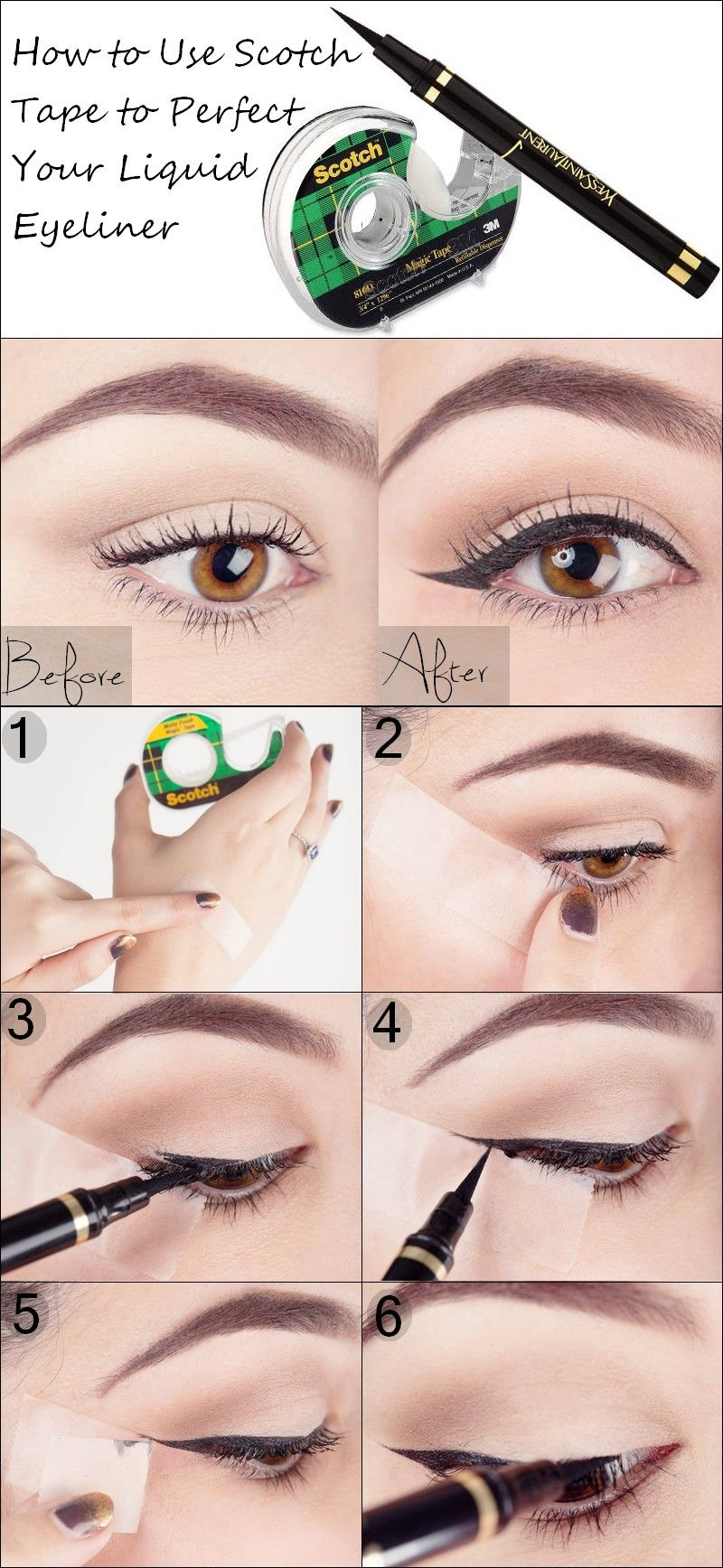 How to Use Scotch Tape to Perfect Your Liquid Eyeliner | Maquillaje ...