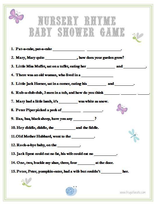 Baby Shower Games Nursery Rhyme Nursery Rhyme Baby Shower Game