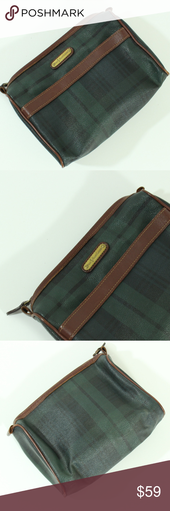 83a56af213 Polo Ralph Lauren Blackwatch Cosmetic Make Up Bag VTG Polo Ralph Lauren  Plaid Leather Clutch Bag USED (The item might have fading