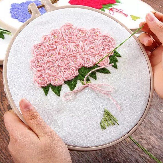 Large Rose Bouquet DIY Embroidery Kit Printed Pattern Linen Hoop Art Home Wall Decor Gift 20cm #diywalldecor