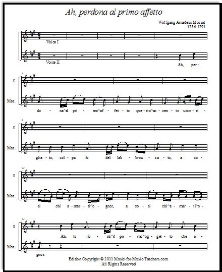 Mozart Vocal Duet Ah, Perdona, Free Vocal Sheet Music