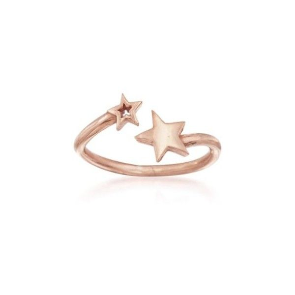 36ac81271 Ross-Simons Italian 24kt Rose Gold Over Sterling Silver Star Bypass...  ($16) ❤ liked on Polyvore featuring jewelry, rings, pink gold jewelry, pink  gold ...
