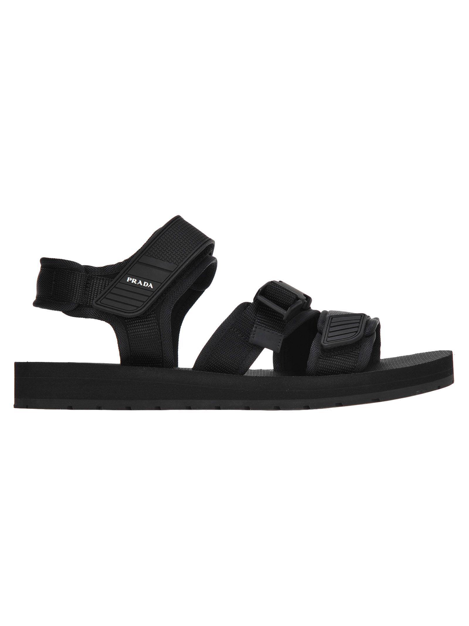 Prada Dad Style Sandals In Black