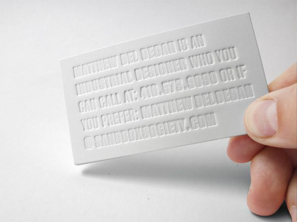 Matthew del degan business cards and business matthew del degans business cards were printed onto cougar uncoated 200lb cover stock using a blind emboss print method reheart Gallery