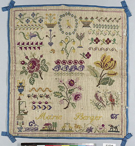 19th Century French Sampler Stitched By Marie Berger | Samplers ...