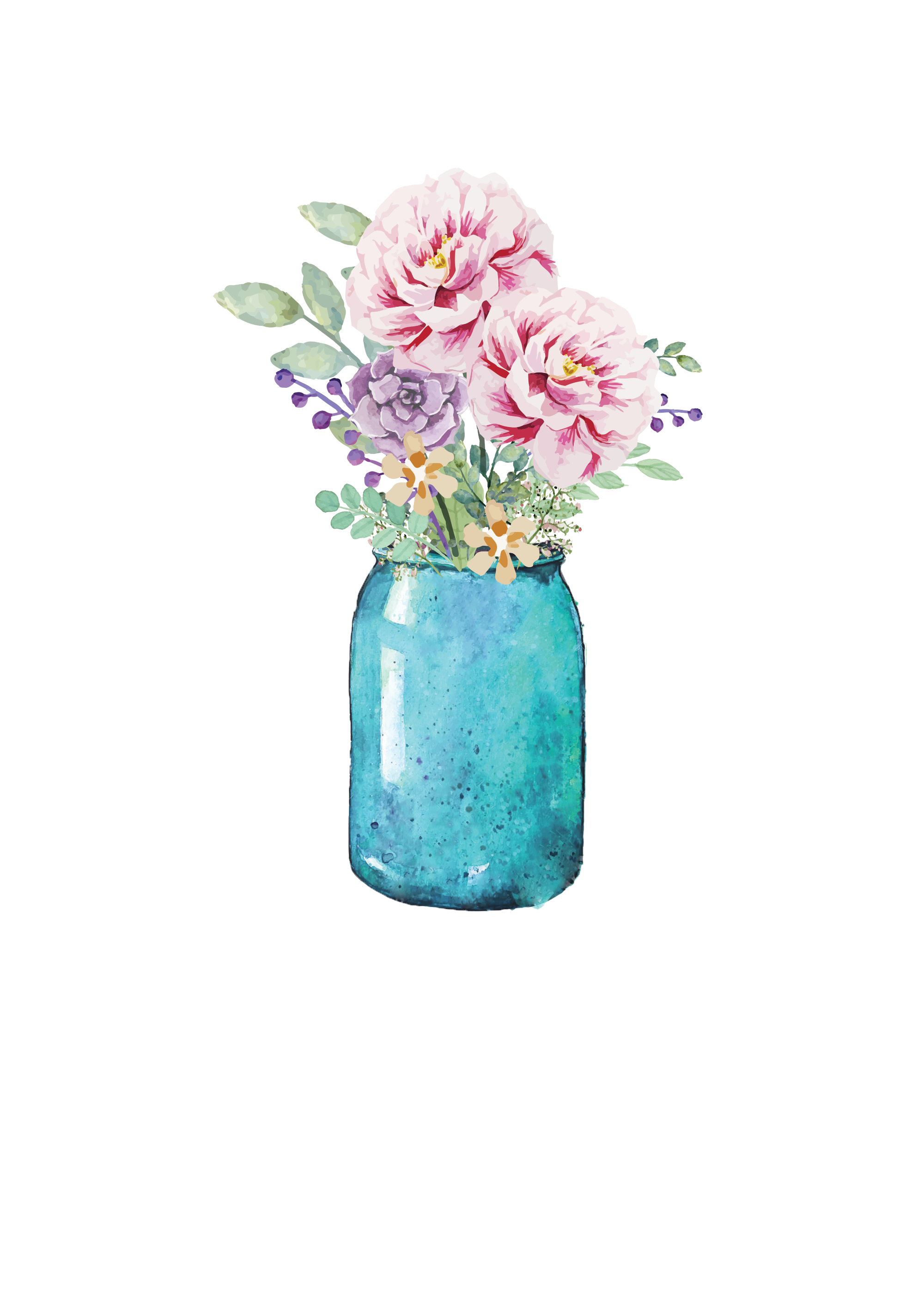 Lauren Baxter Flowers in a Mason Jar Watercolor