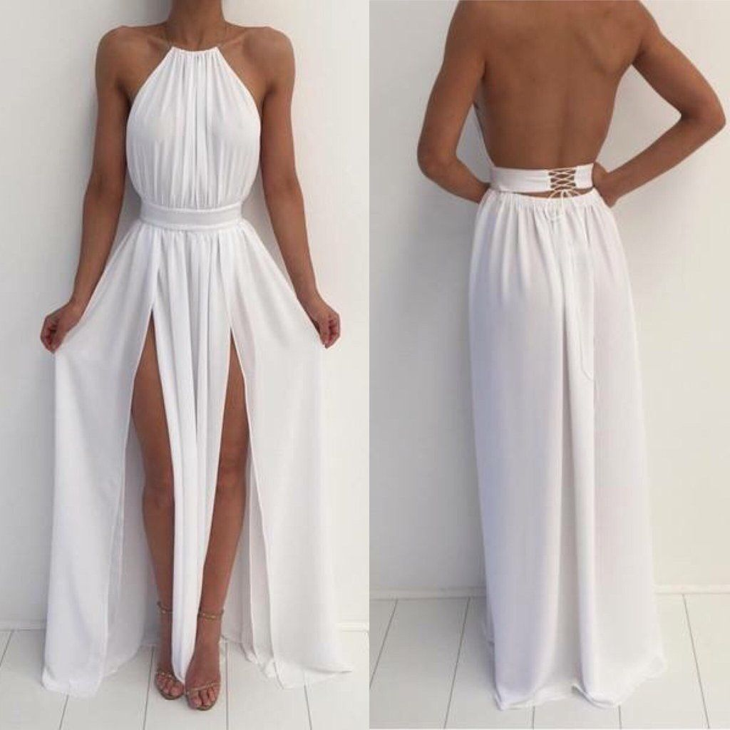 Custom made a line high neck white backless prom dresses white