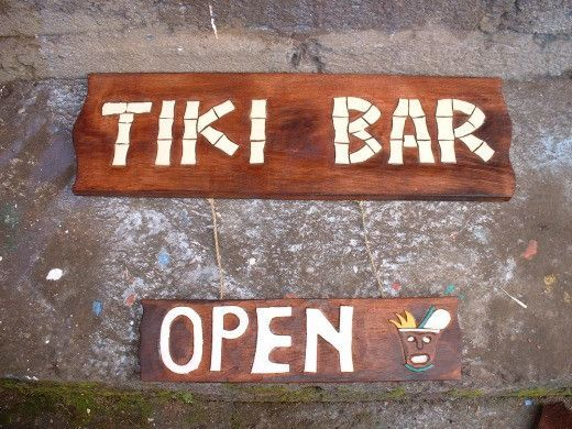 "Bar Decor Signs Tiki Sign ""tiki Bar Open""  24""  Tiki Bar Decor  Tiki Bar Signs"