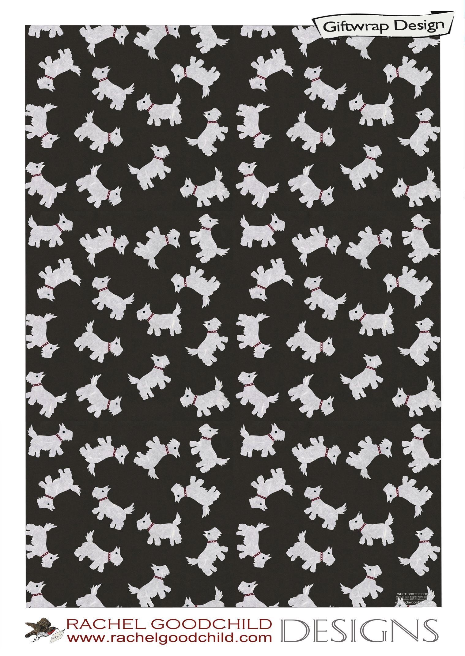 White Scottie Dog Design By Rachel Goodchild Designs Paper Party Decorations Flowery Wallpaper Textile Patterns
