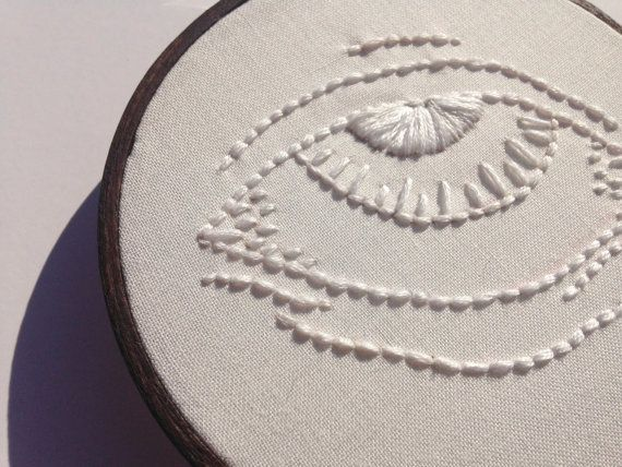 The Whites of Their Eyes // 4 Embroidery Hoopart by threadhoney