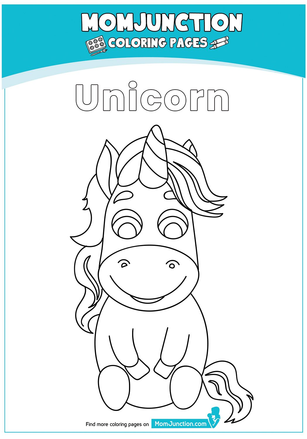print coloring image - MomJunction | Unicorn coloring ...