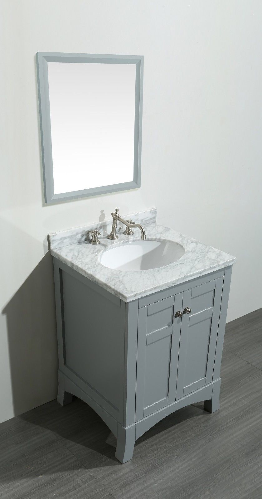 Transitional 24 Inch Gray Bath Vanity Marble Carrera Top With Images Grey Bathroom Vanity Bathroom Vanity Bathroom Vanity Designs