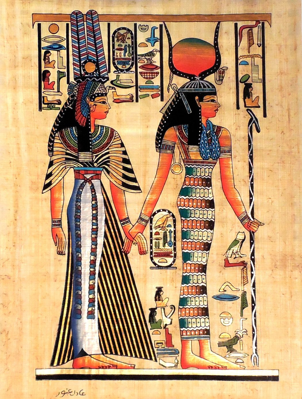 Ancient Egyptian Art On Papyrus Unique Handmade For Sale At Arkangallery
