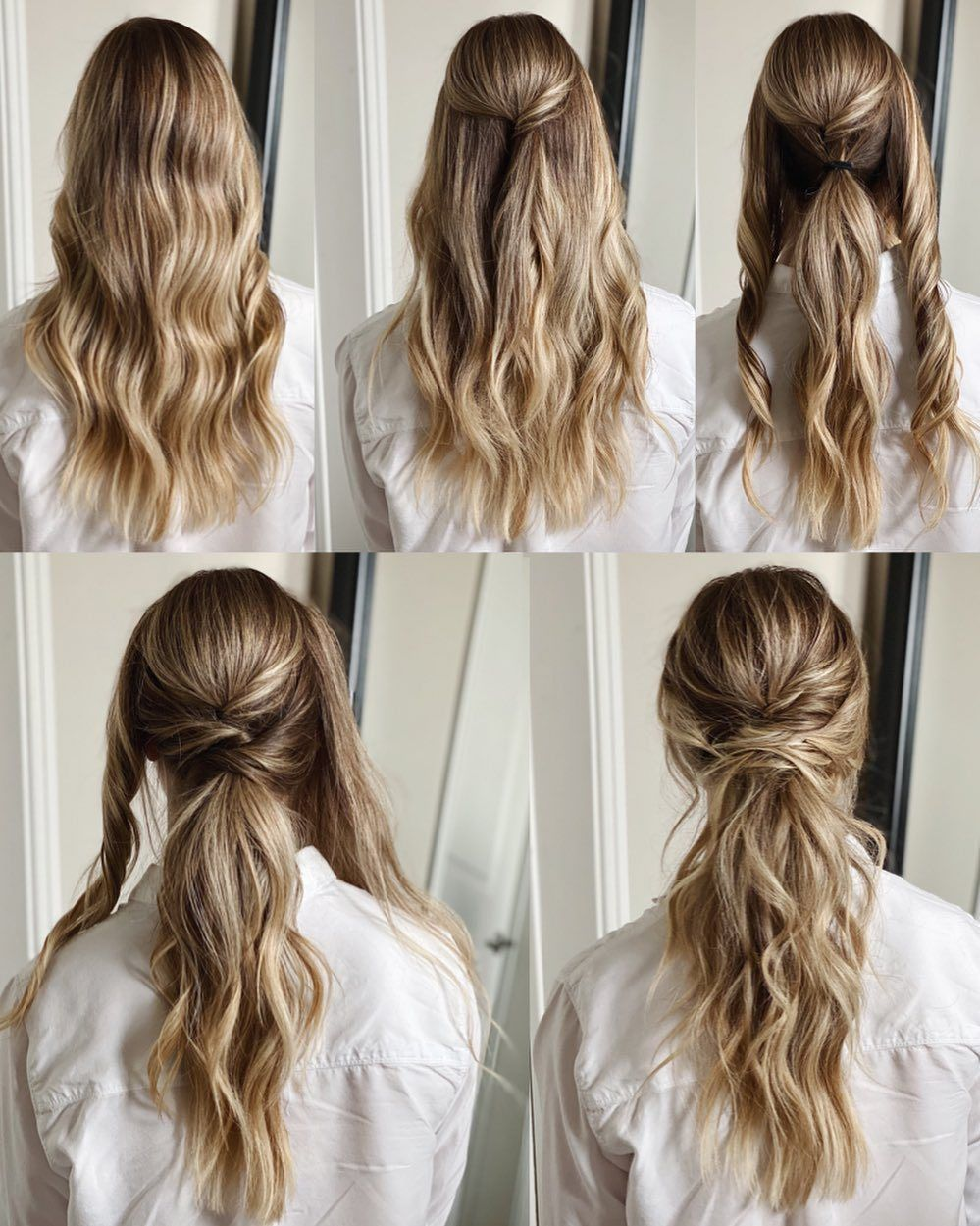Wavy Low Ponytail Ponytail Hairstyles Tutorial Nurse Hairstyles Bridal Ponytail Hairstyles