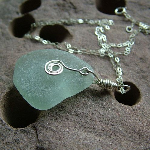 Seafoam Sea Glass Necklace, by TidalCreations