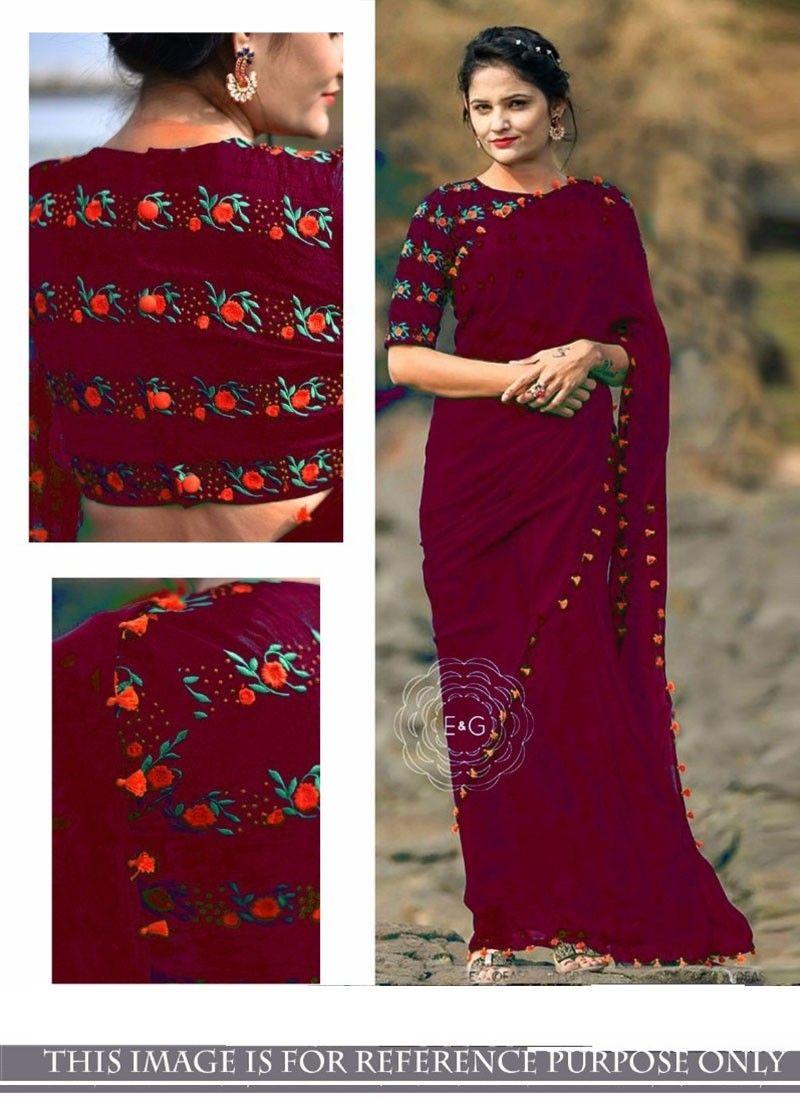 Shop Online Wine 60 Gram Georgette Bollywoodsarees Chennaistore Com Party Wear Dresses Saree Designs Saree