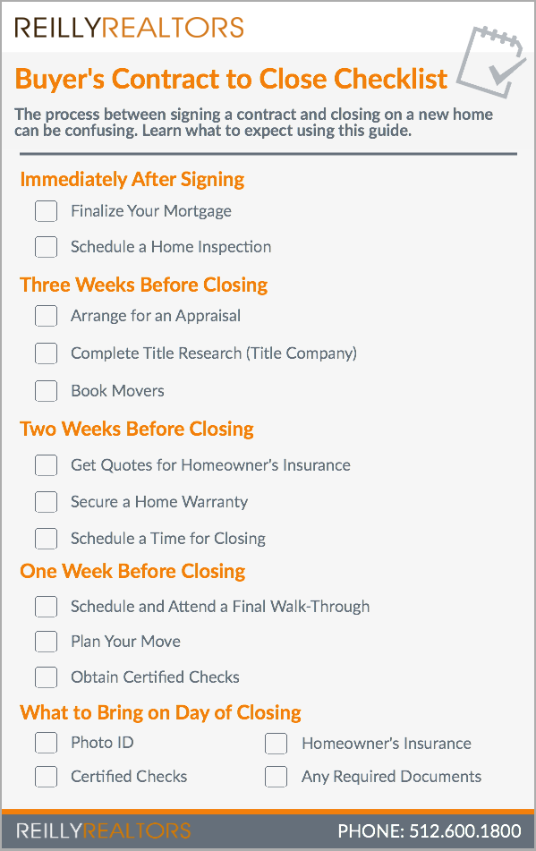 Buyer S Contract To Close Checklist Real Estate Checklist Real Estate Tips Checklist
